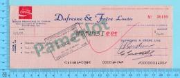 Trois-Rivieres Quebec Canada - Coca-Cola - Cheque P.A. Gouin Ltée  T.R.   En 1978 2 Scans - Cheques & Traverler's Cheques
