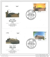 Libya 2014 Complete Set On 2 FDC - Shebha Castle & Murzuq Castle - Desert Birds Painting - Libya