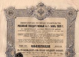 Gouvernement Imperial De Russie  Emprunt De L'Etat Russe 4.5% De 1909 Obligation De 127 Roubles 50 Copecs   2 Coupons - Russie