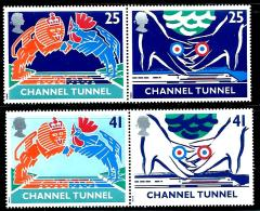 """Great Britain    """"Opening Of Channel Tunnel""""     Set  (2 Pair)   SC# 1558-61a    MNH - 1952-.... (Elizabeth II)"""