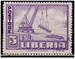 Liberia 1947, Monrovia Harbor, 5c, Scott# 299, Used - Liberia