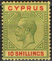 CIPRO - 1923 - EFFIGIE DEL RE GIORGIO V - 10 SHILLINGS - MH - Cyprus (...-1960)