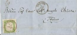 S153 - Lettera Del 4 Dicembre 1859 Da TORINO Per Città Con Cent 5 Verde Giallo Isolato .Sass. N 13B  Leggi - Sardaigne