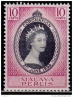 Malaysia, Perlis, 1953, Coronation, 10c, MLH - Perlis