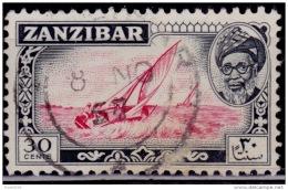 Zanzibar 1957, Dhows, 30c, Scott# 254, Used - Zanzibar (...-1963)