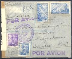 1940 , VIZCAYA , CERTIFICADO CIRCULADO ENTRE BILBAO Y KENT , CENSURA DE BILBAO / CERTIFICADOS Y BRITÁNICA. - 1931-50 Cartas