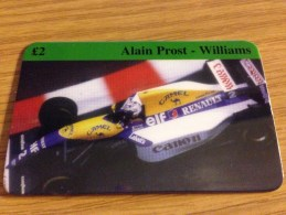 Nice  Prepaid Card 2 Pound Formula One Alain Prost - Williams Car  - Fine Used - Regno Unito