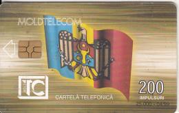 MOLDOVA - Flag, Telecom Building, Moldtelecom Telecard 200 Units, Tirage 25000, 04/99, Used