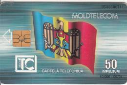 MOLDOVA - Flag, Monument, Moldtelecom First Issue 50 Units, Tirage 10000, 09/94, Used