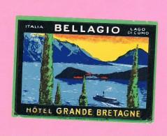 Etiquette. ITALIA-ITALIE. LAGO DI COMO BELLAGIO HÔTEL GRANDE BRETAGNE. - Vieux Papiers