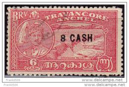 India 1943, Travancore, Maharaja And Varma Bridge, 8ca On 6ca Surcharged, Used - India (...-1947)