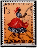 Zambia, 1964, Barotse Dancer, 1sh3p, Scott 3, Used - Zambia (1965-...)