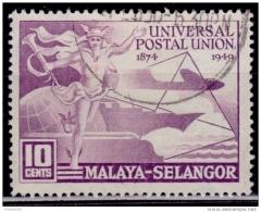 Malaya, Selangor 1949, UPU Issue, 10c, Scott# 76 Used - Selangor