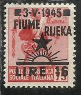 OCCUPAZIONE FIUME 1945 LIRE 16 SU 0.75 SENZA FILIGRANA UNWATERMARK MH SIGNED FIRMATO