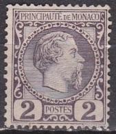 Monaco 1885 Prince Charles III 2 C. Violet-gris Y&T 2 Neuf Sans Gomme (*) - Monaco