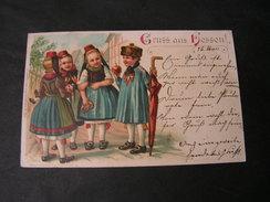 Hessen Trachten , Kinder Aus Herbstein 1900 Regenschirm Litho - Costumes