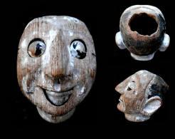 Ancienne Tête Burlesque Birmane Articulée / Old Burmese Theatre Wooden Head - Art Asiatique