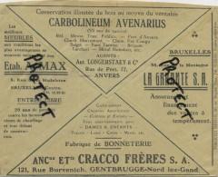 Old Envelope With Publicité: Carbolineum Avenarius Anvers / Gentbrugge Fabrique De Bonneterie / / BXL La Garage - Entiers Postaux