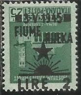 OCCUPAZIONE ITALIANA ITALIAN OCCUPATION FIUME 1945 LIRE 2 SU CENT 25 C VARIETA' VARIETY MNH