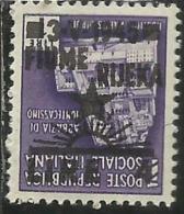 OCCUPAZIONE ITALIANA ITALIAN OCCUPATION FIUME 1945 LIRE 4 SU 1 L. VARIETA´ VARIETY MNH