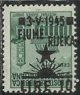 OCCUPAZIONE ITALIANA ITALIAN OCCUPATION FIUME 1945 LIRE 10 SU CENT. 25 C. VARIETA´ VARIETY MNH