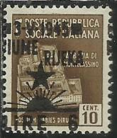 OCCUPAZIONE ITALIANA ITALIAN OCCUPATION FIUME 1945 LIRE 6 SU CENT. 10 C. VARIETA´ VARIETY MNH