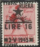 OCCUPAZIONE ITALIANA ITALIAN OCCUPATION FIUME 1945 LIRE 16 SU CENT. 75 C. VARIETA´ VARIETY MNH
