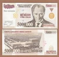 AC - TURKEY- 7TH EMISSION 5 000 000 TL M 66 666 664 RARE UNCIRCULATED - Turkije