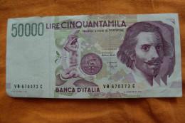 BILLET ITALIE - P.116 - 50000 LIRE - 1992 - BERNINI - STATUE EQUESTRE - CHIFFRE EN VERT - [ 2] 1946-… : République
