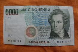 """BILLET ITALIE - P.111 - 1985 - 5000 LIRE - BELLINI - OPERA """"NORMA"""" - COLISEE - - [ 2] 1946-… : République"""