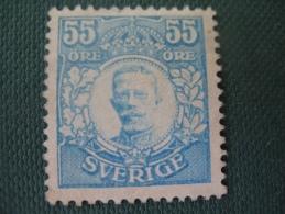 Suede N° 101 Neuf (*) No Gum , Gustave V , 55 Öre Bleu Vert Cote 1800 €