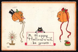 HALLOWEEN EMBOSSED CPA 1919 A Happy Halloween 2 Jack O Lanterns Talking To Each Other - Cat - VERY RARE ! - Halloween