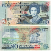 EAST CARIBBEAN STATES   New $ 10  With Enlarged Security Thread   2016    UNC - Caribes Orientales