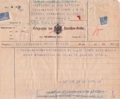 TELEGRAMME ALLEMAND Utilisé Par Les SOLDATS FRANÇAIS - EQUIPE CINEMA 4ème ARMÉE - 20/1/19 Strasbourg - Guerre 14 WW1 - Documents Historiques