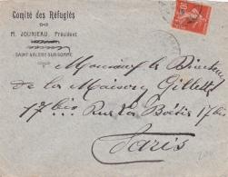 GROUPEMENT FRANCO BELGE DES RÉFUGIÉS - ST VALERY SUR SOMME Lettre à En-tête Du Comité Affrt Semeuse 138 - Guerre Mondiale (Première)
