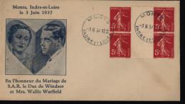 Enveloppe Illustrée Commémorative Du Mariage De S.A.R Le Duc De Windsor Et Mrs Wallis Warfield Monts Indre Et Loire 1937 - 1921-1960: Période Moderne