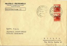 AMG - VG 1947. COPPIA DEMOCRATICA £ 3 CON SOPRASTAMPA SPOSTATA A DESTRA PER MILANO. - Marcophilie