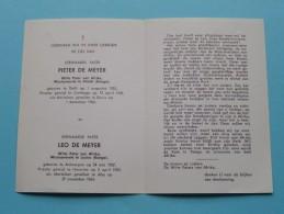 DP E. Paters Pieter De MEYER Delft 1 Aug 1915 En Leo De MEYER Antwerpen 24 Mei 1927 / 1964 Zie Onder ( Zie Foto's ) ! - Obituary Notices