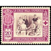 ES338STV-LFT***338STCFR.CRUZ ROJA.URGENTE.FAMILIA REAL Española. 1927 (Ed 338**) Sin Charnela MAGNIFICO - Familias Reales