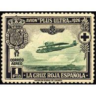 ES347STV-LFT***347S.CRUZ ROJA.AEREO.ESCUDO DE ESPAÑA.AVION PLUS ULTRA (Ed 347**) Sin Charnela MAGNIFICO - 1889-1931 Reino: Alfonso XIII