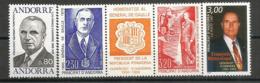 Hommage Aux Co-Princes Français D´Andorre Et Présidents Français (Gal De Gaulle.Pompidou,Mitterand) 4 Timbres Neufs ** - De Gaulle (Général)