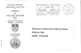 REL-L20 - FRANCE Lettre En Franchise Postale De La Commune De Volgelsheim Flamme Ill Eglise Royale St-Louis Neuf-Brisach - Cristianismo