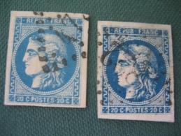 Emission De Bordeaux N° 46 B Et 46 Ba (bleu Foncé) 2 Belles Nuances TB - 1870 Bordeaux Printing