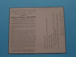 DP Sofia Maria RAPS ( Frans Mees ) Ruisbroek-Sauvegarde 20 Okt 1884 - Willebroek 8 Jan 1962 ( Zie Foto's ) ! - Avvisi Di Necrologio