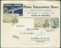 ESPANA SPAIN - Cover From Pedro Villalonga GRAU (Palma De Mallorca) To St-Gilles (Belgium) With Advertising VINOS Y CONA - Vins & Alcools