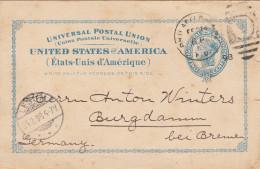 """USA 2c GA Postal Card Philadelphia - Bremen 1898 - """"Philadelphia, Feb 14"""" 1 Kreis+ Balken-Ring-Stempel Gestempelt - Cartas"""