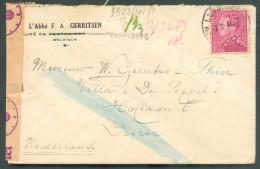 1Fr.50 POORTMAN Obl. Sc Obl. Sc LESSINES Du 7-8-1944 + Griffe Violette De WANNEBECQ Vers Dieren (Pays-Bas) + Bande De Ce - 1936-51 Poortman