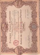 ALGERIE - ACTION ILLUSTREE 100 FRS - FILTRERIE FRANCO - ALGERIENNE -ANNEE 1928 - Afrique