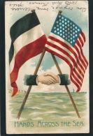 """USA - DEUTSCHES REICH - DEUTSCHLAND - Drapeaux Allemand & Américain Symbolisant L'amitié """"HANDS ACROSS THE SEA""""(embossed - Estados Unidos"""