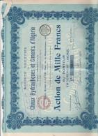 ALGERIE - ACTION ILLUSTREE DE 1000 FRS -CHAUX HYDRAULIQUES ET CIMENTS D'ALGERIE -ANNEE 1922 - Afrique